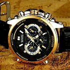 TEMEITE genuine mens leather luxury watch auto date business water resistant gol
