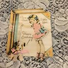 Vintage Greeting Card Birthday Dog Girl In Pink Dress Book Victorian