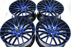 4 New DDR Zuki 17x75 5x1143 38mm Black Polished Blue 17 Wheels Rims