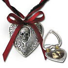 The Reliquary Heart Skull Scrolled Heart Locket Pendant Alchemy Gothic P496