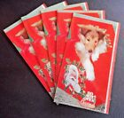 5 Vintage Collie Dog Puppy Real Photo Plastichrome Christmas Cards Unused Cute