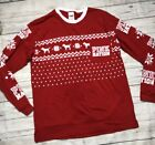 PINK Victorias Secret Small Red Christmas Long Sleeve Campus Tee Ugly Christmas