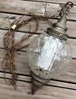 Vintage Retro Hollywood Regency Hanging Swag Light Fixture Amber Glass Diffuser