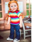 18 In Doll Clothes Jean Rainbow Shirt Denim Sneakers Fits American Girl or Boy