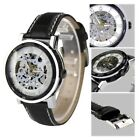 Orkina Black Rim Skeleton Dial Hand-Wind Leather Band Men's Wrist Watch