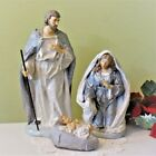Nativity Set 7 pieces Sparkly Silver and Plum 12 inch Holy Family Gloria Angel