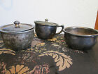 Lot 3 Antique Vtg Silver Plate Pewter Bowls Tea Cup Mug w Lid Wear Brite ISCO