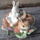 Fitz & Floyd Classics Woodland Spring Bunny Rabbit Salt & Pepper 3 Pc Set