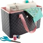 Everything Mary Black Quilted Rolling Tote Sewing Machine Travel Case Adjustable
