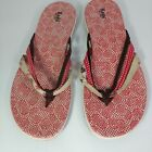 Keds womens flip flop sandals size 8 three strap floral and polka dot