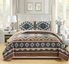 Blue Brown Southwest Coverlet Quilt Cal King Set Native American Western Style