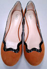 CATO Faux SUEDE PATENT BALLET Flats SCALLOP Shoes womens 8 M Casual New