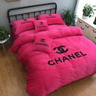 Bright Hot Red With Classic Chanel Symbol Logo Pattern 4PC Cosy Winter Bed Set
