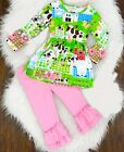 Farm Girl Country Pink Ruffle Boutique Outfit Pageant Party Church  sip