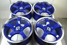 4 New DDR Fuzion 17x7.5 4x100/114.3 38mm Blue/Polished Lip 17