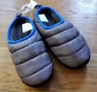 NEW Boys OLD NAVY  size 5 6  gray quilted fleece lined slippers blue trim