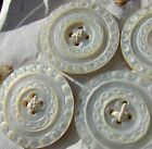 Antique Buttons Hand Carved Mother Of Pearl Set of 4 Large 1.25