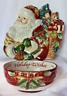 Fitz and Floyd Holiday Solstice Santa Claus Canape Plate Wall Plaque Damask Bowl