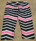 Under Armour black white and pink heat gear capri pants size large