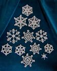 NEW HAND CROCHETED ECRU SNOWFLAKE ORNAMENTS One of a Kind SET OF 12