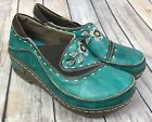 Spring Step Lartiste Burbank Leather Clogs Size 37 US 65 7 Teal Green