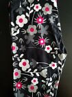 Lularoe Gray White Pink Daisy Floral OS Leggings Black Background Unicorn NEW