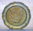 Old Vintage Cast Brass Hand Carved Dog Figured Decorative Plate Wall Decor