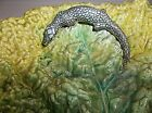 Antique MAJOLICA Palissy Plate Bowl Cabbage Leaf LIZARD 12.56