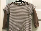 Boys Sz 18 24 Months Brown White Striped Top BABY BODEN w Red Long Sleeves