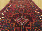 Hand Knotted Semi Antique Afghan Balouch Wool Runner Rug 9x4 Ft (3552)