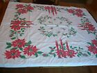 Vintage Soft CHRISTMAS TABLECLOTH Candles Poinsettias Pine Cones 53 x 44