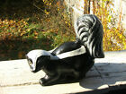 BLACK CONCRETE CEMENT SKUNK STATUE LIFE SIZE LOOKS REAL YARD GARDEN ART