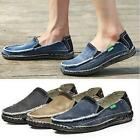 Retro Vintage Men Casual Flats Slip On Loafers Male Jeans Driving Canvas Shoes