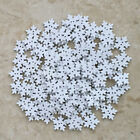 Mixed 100PCs White Christmas Snowflake Sewing Scrapbook Craft Wooden Buttons DIY