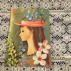 Vintage Greeting Card Get Well Pretty Girl House Blue Birds