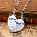 925 Sterling Silver Heart Shape Mother Daughter Love Necklace Pendant + Chain