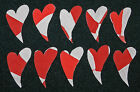 10 ANTIQUE CUTTER QUILT PRIMITIVE CURVY HEARTS! RED/LT.PINK VALENTINE