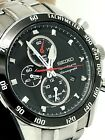 Seiko Sportura Men's Watch Chronograph Stainless Steel Black Dial Date SNAE69