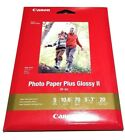 NIP Canon PHOTO PAPER PLUS Glossy II NEW 5x 7 Size 20 Sheets PP 301 HIGH GLOSS