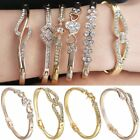 Women Spring Summer Gold Filled Heart Cuff Bangle Bracelet Charm Jewelry Gift