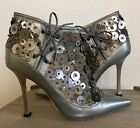 MANOLO BLAHNIK Pewter Silver Embellished Leather Ankle Bootie Boot Heel 385