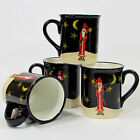 Certified International MIDNIGHT SANTA 16oz Mug Set 4Pc Barton Folk Art Stars