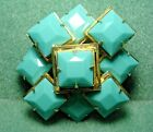 Vintage Art Deco Style Geometric Pin Brooch Pendant Turquoise Glass Cabochons