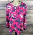Ann Taylor Womens Blouse Size Large Pink Gray Beige Floral 3 4 Sleeve