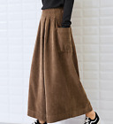 Hot Women Corduroy High Waist Cropped Trousers Vintage Casual Wide Leg Pants New