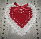 New Hand Crochet Valentines Day Heart Doily Red White Ribbon