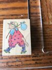 All Night media Wood Mount Rubber Stamp roll away kitty 880e on skates