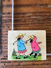 All Night Media Wood Mount Rubber Stamp 206e girls playing pulling ponytail