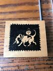 Rubbermoon jane Cather Wood Mount Rubber Stamp dog carrying witch hat pumpkin