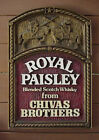 RARE CHIVAS BROTHERS ROYAL PAISLEY BLENDED SCOTCH WHISKEY WALL SIGN Advertising